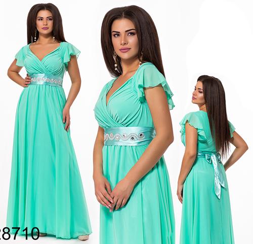 Вечернее длинное платье с V вырезом (мята) 828710