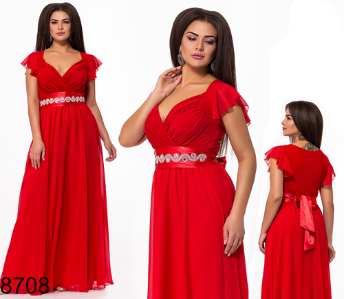 121b4725b49 Вечернее яркое платье в пол с коротким рукавом (красный) 828708 - СТИЛЬНАЯ  ДЕВУШКА интернет