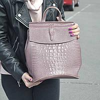 """Кожаный рюкзак-сумка (трансформер) с тиснением под аллигатора """"Крокодил Dark Pink"""", фото 1"""