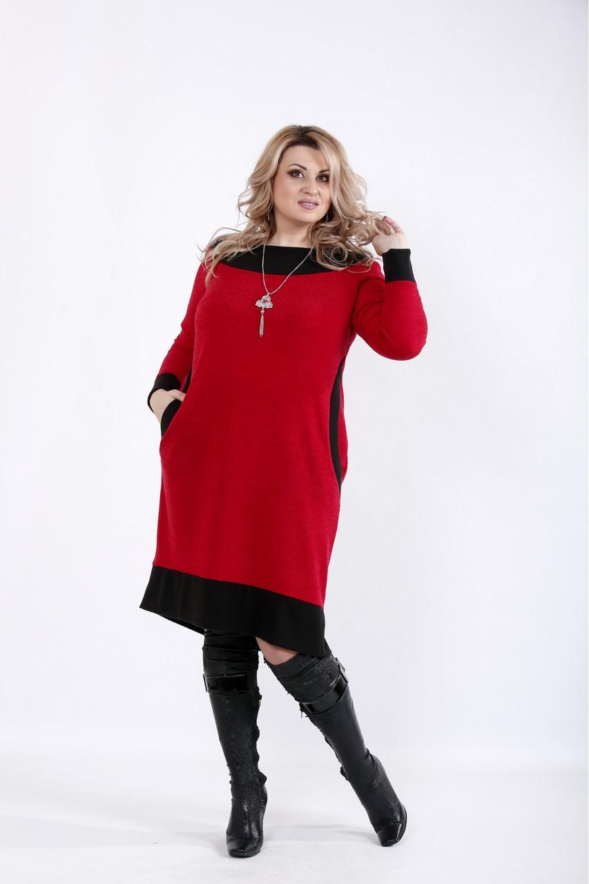 Красное платье трикотажное офисное большого размера 42-74. 01055-3