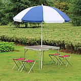 Стол алюминиевый раскладной для пикника + 4 стула, чемодан, фото 2