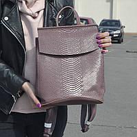 """Кожаный рюкзак-сумка (трансформер) с тиснением под змеиную кожу """"Питон Dark Pink"""", фото 1"""