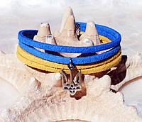 Браслет Патриотический Тризуб кожаный шнур Leather bracelet