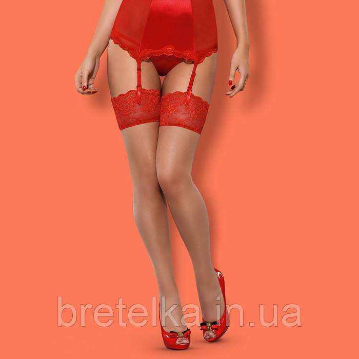 Женские чулки под пояс Телесно-красный Obsessive