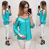 Блузка с тесьмой на горловине и открытыми плечами, арт 159, цвет изумрудный, фото 1