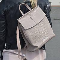 """Кожаный рюкзак-сумка (трансформер) с тиснением под аллигатора """"Крокодил Light Pink"""", фото 1"""