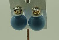 Голубые глянцевые пусеты- серьги оптом. Модная бижутерия оптом. 52