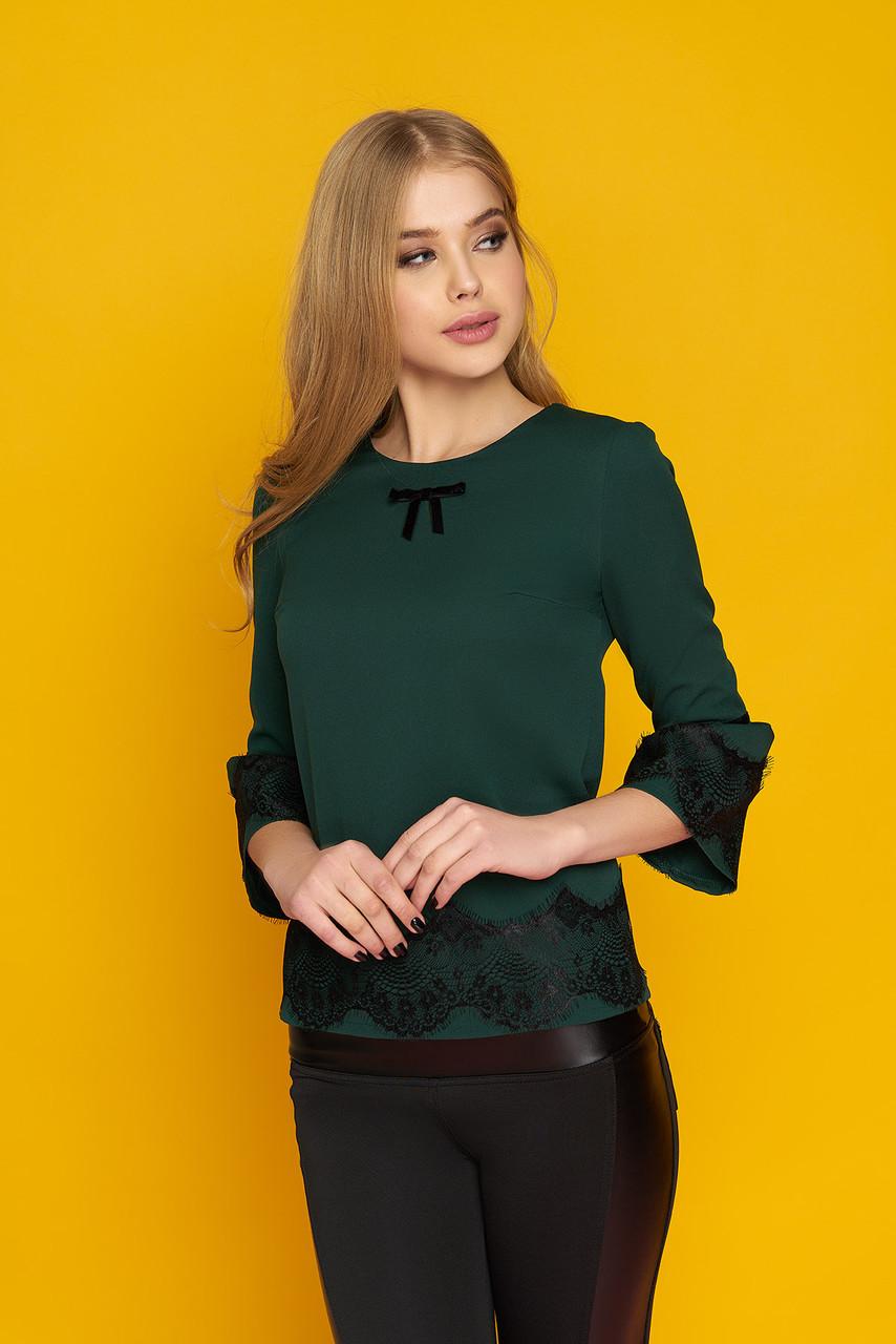 """Красивая женская нарядная блузка с кружевом на рукавах и внизу """"Кристи"""" (зеленый)"""