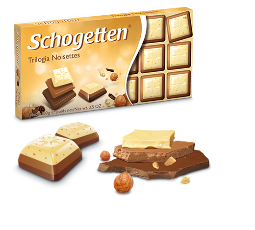 Шоколад молочний Шогетен Трилогія Schogеtten Trilogia Noisettes 100 г х 15 шт в упаковці