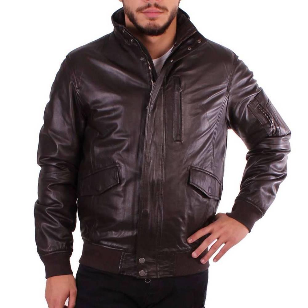Мужская кожаная куртка Geox M5422A BROWN