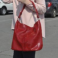 """Женская кожаная сумка с лазерным напылением красная  """"Лазерка Red"""""""