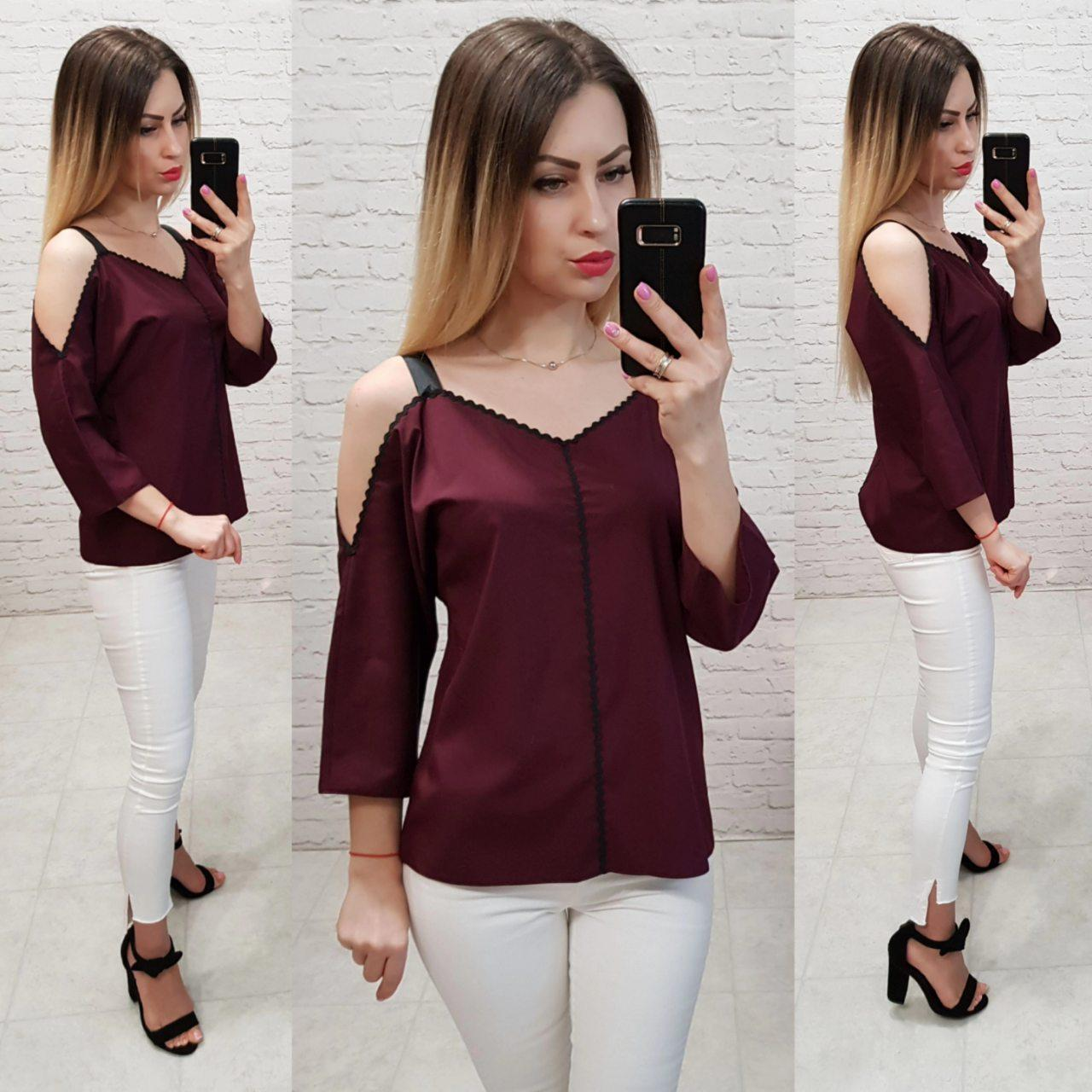 Блузка с тесьмой на горловине и открытыми плечами, арт 159, цвет бордовый