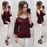 Блузка с тесьмой на горловине и открытыми плечами, арт 159, цвет бордовый, фото 1