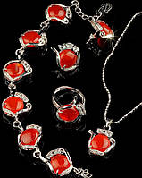 Комплект Сердолик серьги, кулон, кольцо и браслет код 493