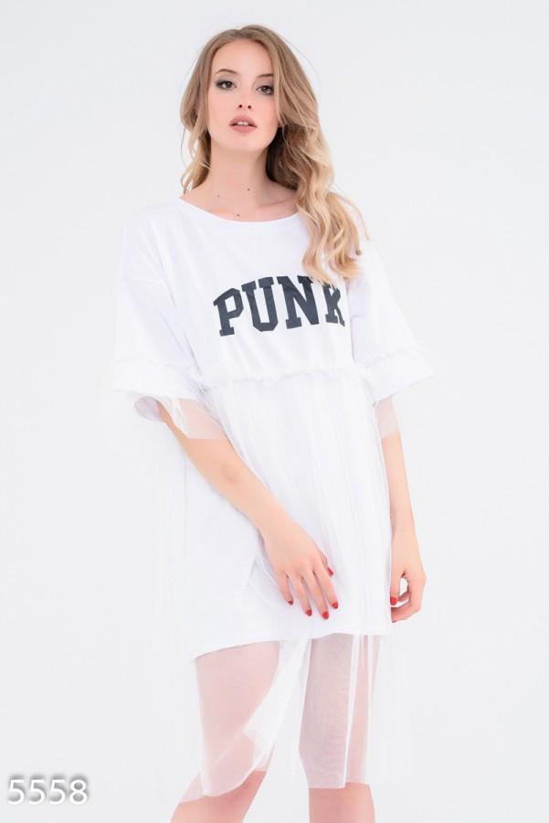 Белое платье-футболка с фатиновой юбкой и принтом PUNK