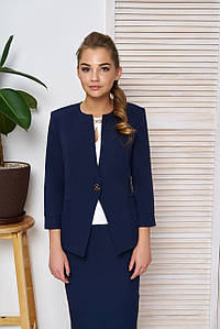"""Деловой женский пиджак на одну пуговицу с оригинальной отделкой """"Тери"""" темно-синий"""