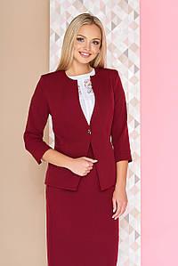 """Элегантный офисный женский пиджак на одну пуговицу с отделкой """"Тери"""" бордовый"""