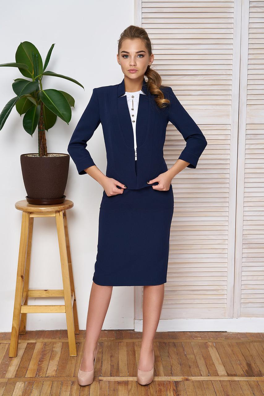 """Строгая деловая юбка карандаш средней длины с карманами и декоративной строчкой """"Лидия"""" темно-синяя"""