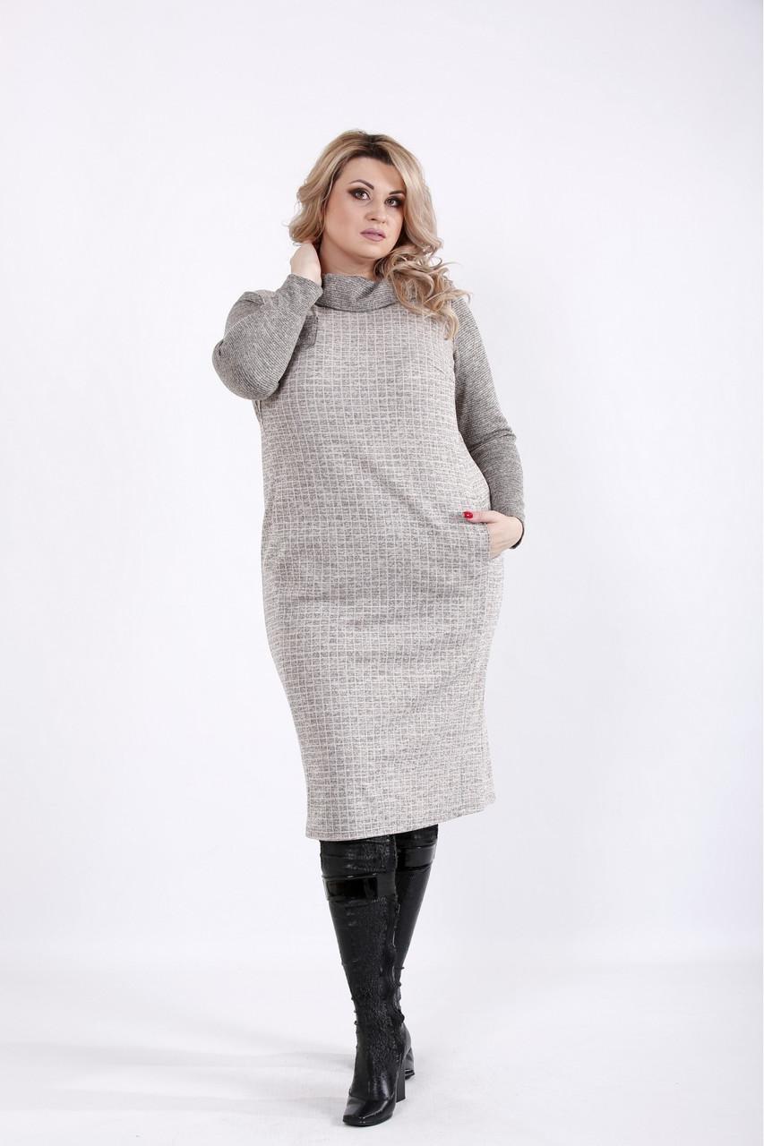 Платье трикотажное офисное из клетчатой ангоры большого размера 42-74. 01057-3