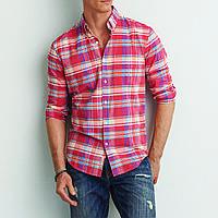 Рубашка в клетку мужская AEO Mandras Button Down PINK