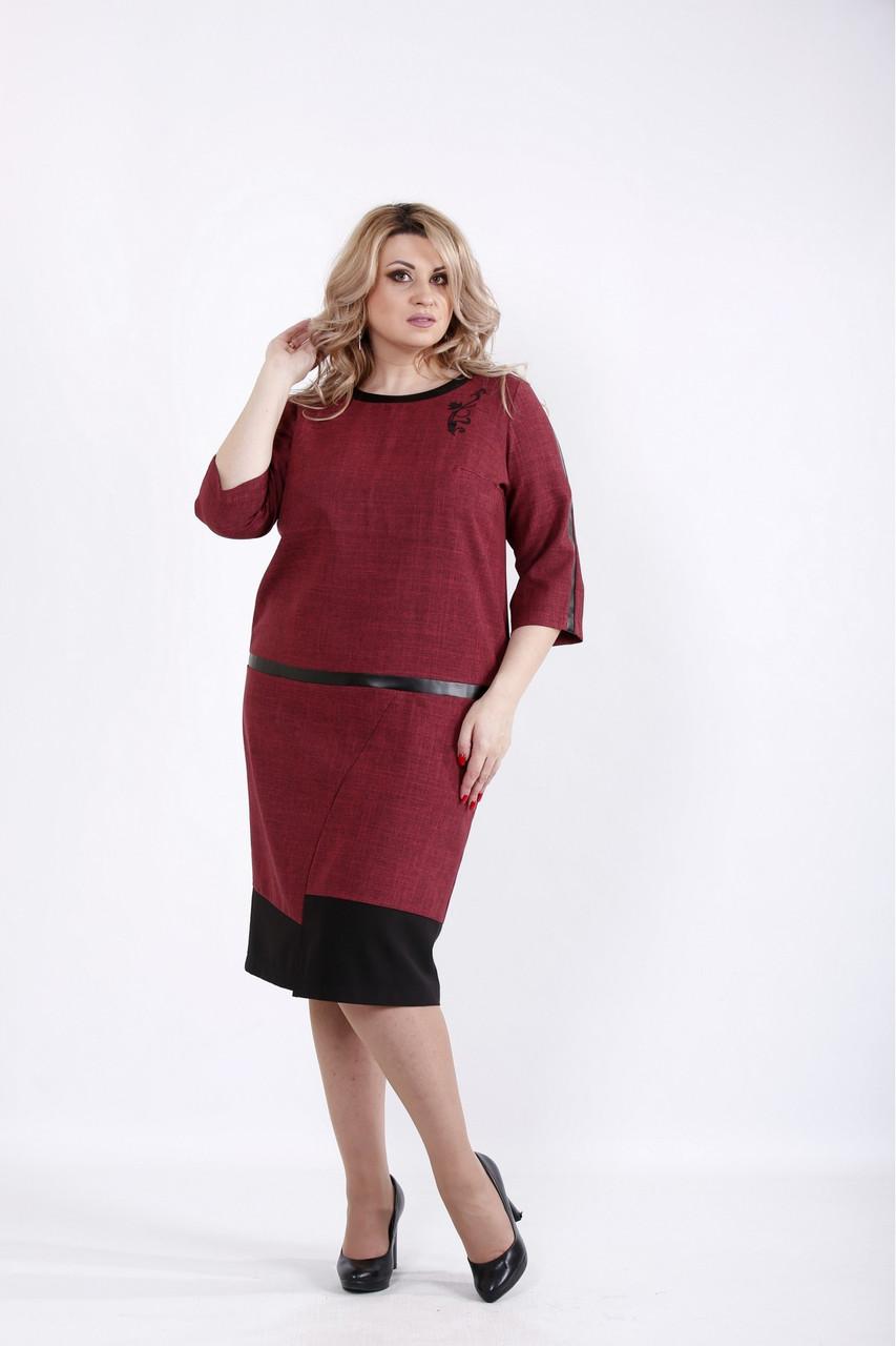 Бордовое платье офисное из габардина большого размера 42-74. 01058-2