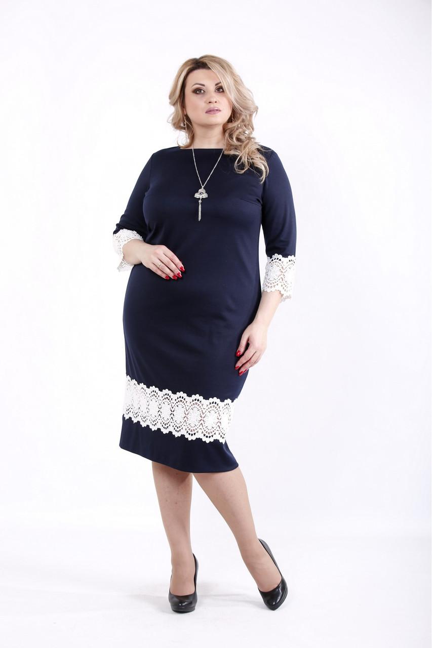 Синее платье прямое трикотажное с кружевом большого размера 42-74. 01059-1