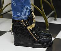 Ботиночки сникерсы черные Д367, фото 1