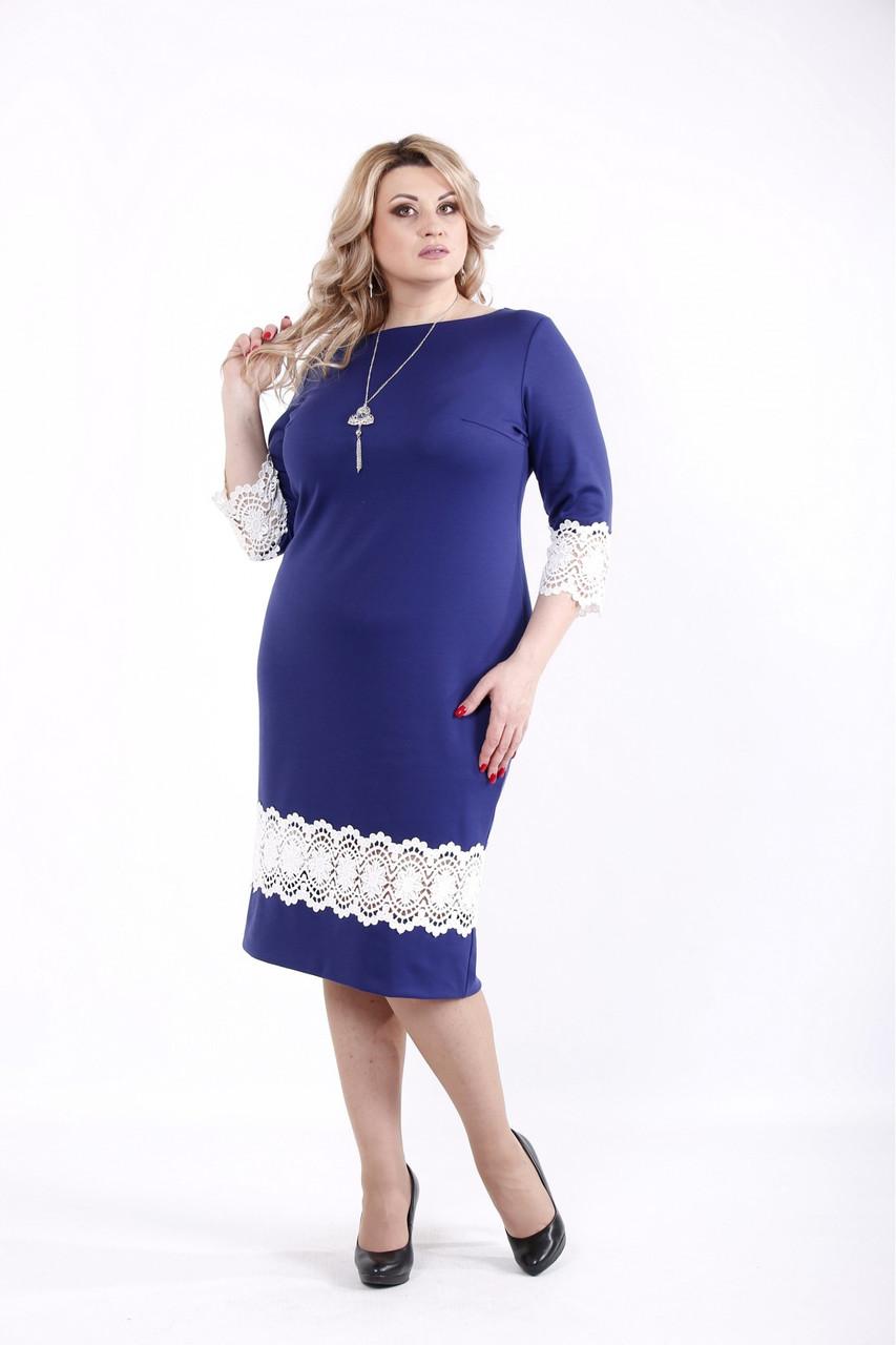 Платье синее нарядное с кружевной вставкой большого размера 42-74. 01059