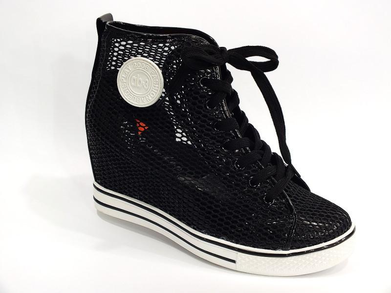 Ботиночки сникерсы черные сетка Д388