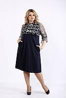 Синее трикотажное платье нарядное с вышивкой на сетке батал 42-74. 01071-1