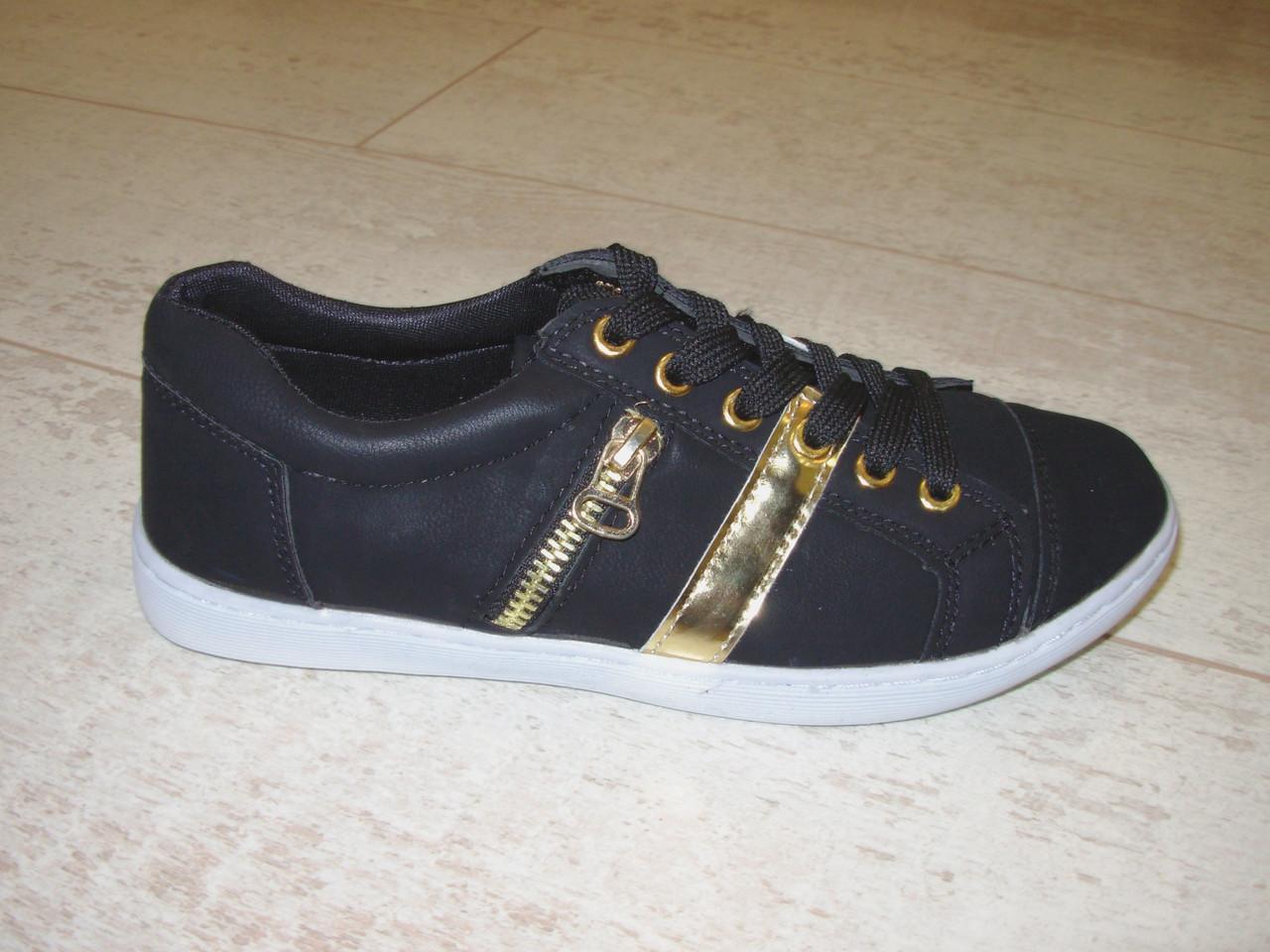 Мокасины черные с золотом Т356