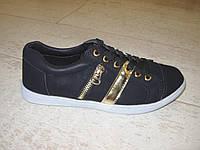 Мокасины черные с золотом Т356, фото 1