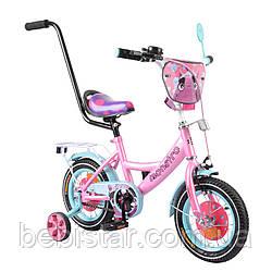 """Двухколесный велосипед розовый с бирюзовым ободом и родительской ручкой TILLY Monstro 12"""" детям 2-4 года"""