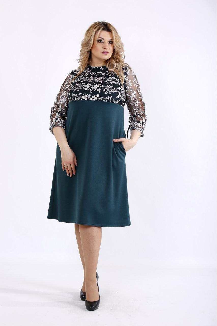 Зелене плаття нарядне молодіжне з вишивкою великий розмір. 01071-2