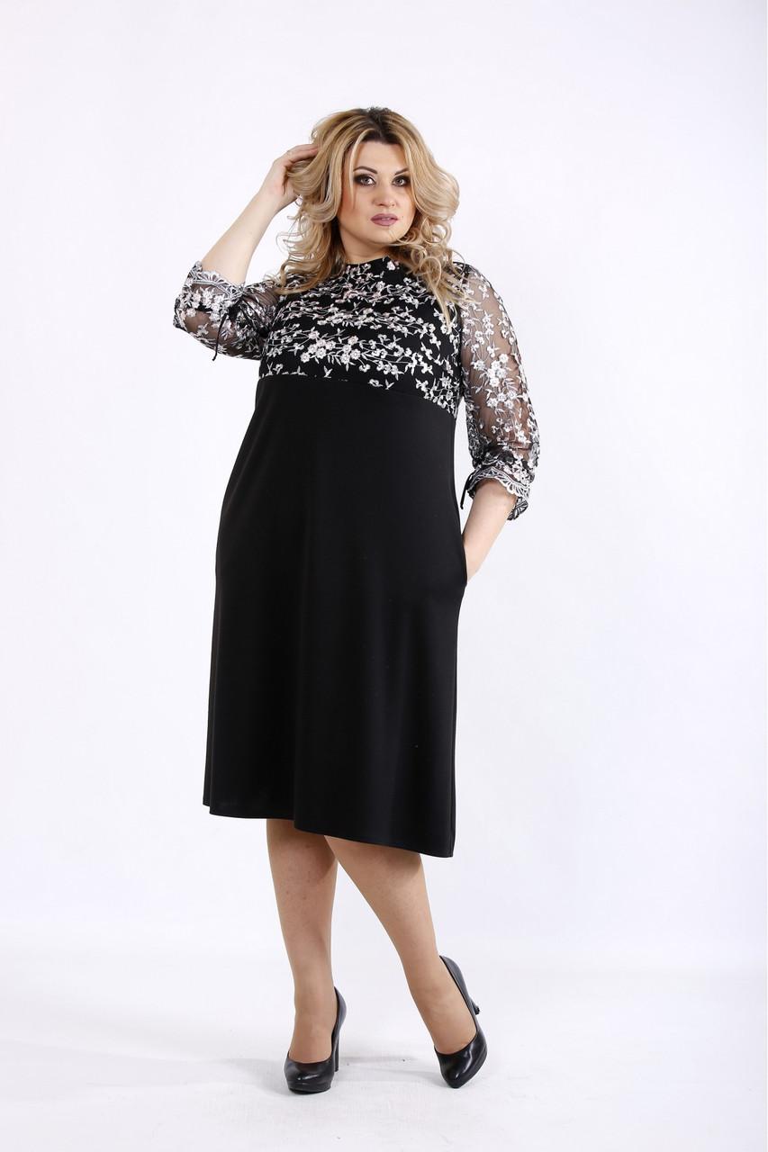 Черное простое платье нарядное с вышивкой большой размер 42-74. 01071-3
