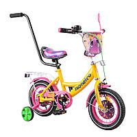 """Двухколесный велосипед желтый с родительской ручкой TILLY Monstro 12"""" детям 2-4 года"""