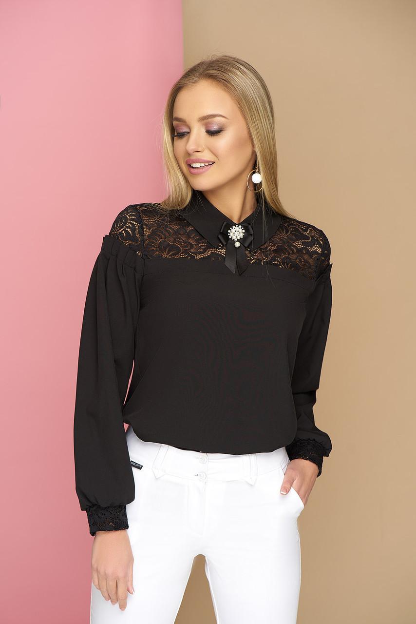 """Женская нарядная блузка с ажурным кружевом и брошью,длинный рукав """"Жозефина"""" (чёрный)"""