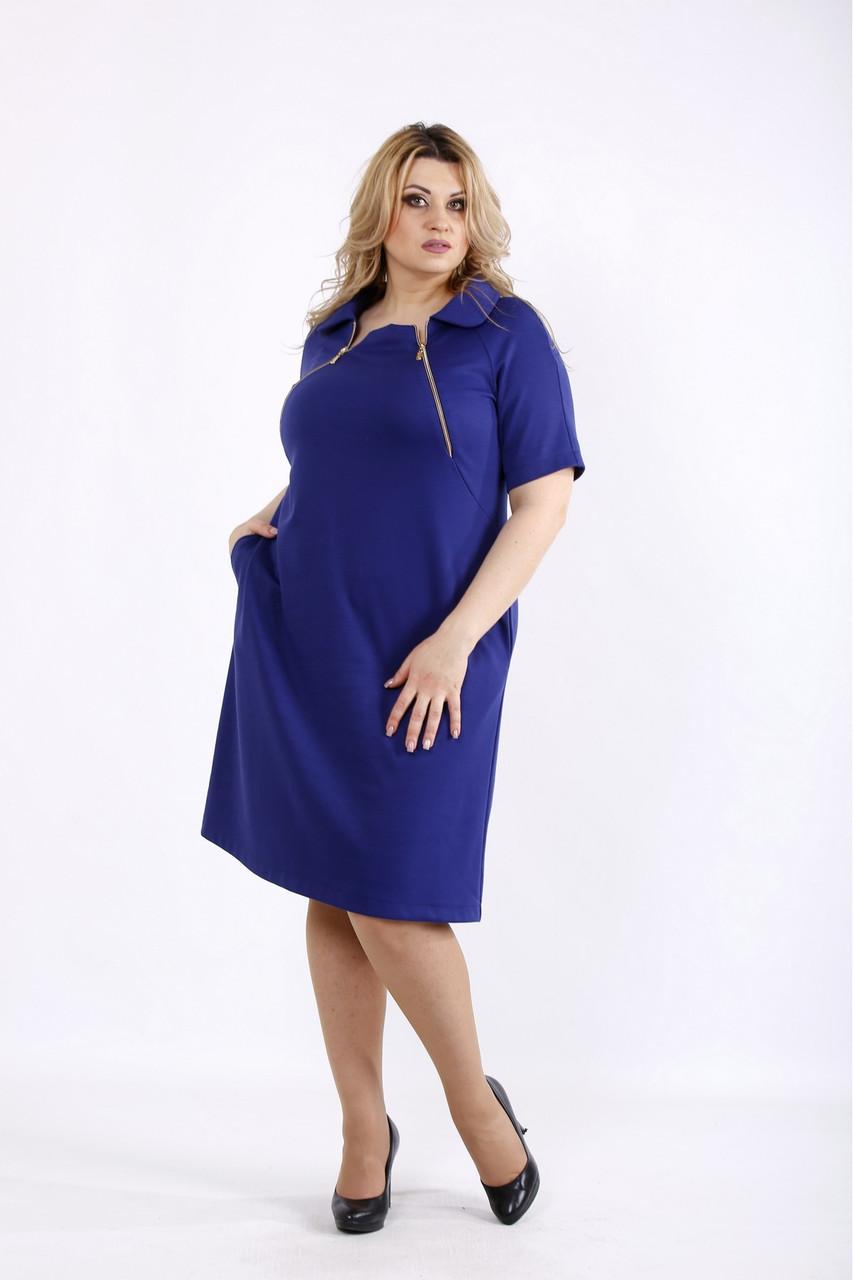 Стильное платье синее с молниями и с карманами большой размер 42-74. 01075-3