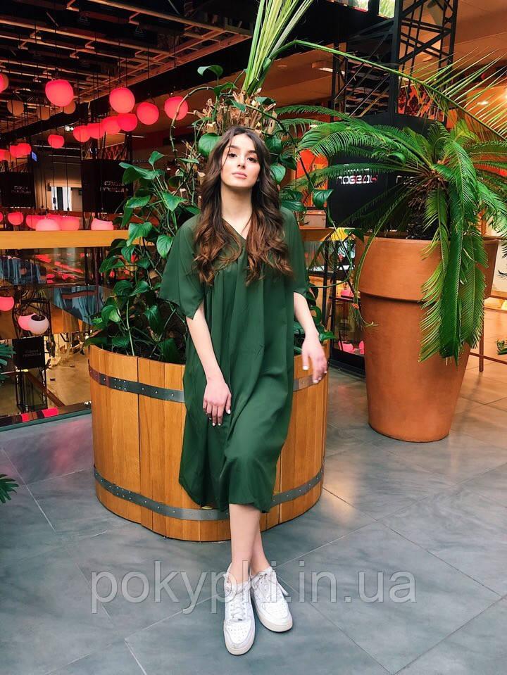 c26c06f352d Стильное летнее платье ниже колен широкого кроя оверсайз с коротким рукавом  хаки -