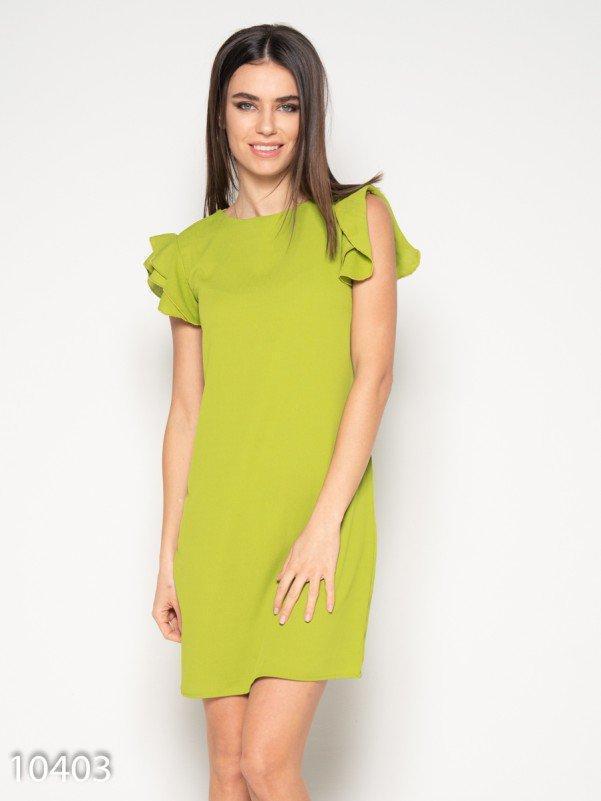 Оливковое мини платье с рюшами на рукавах