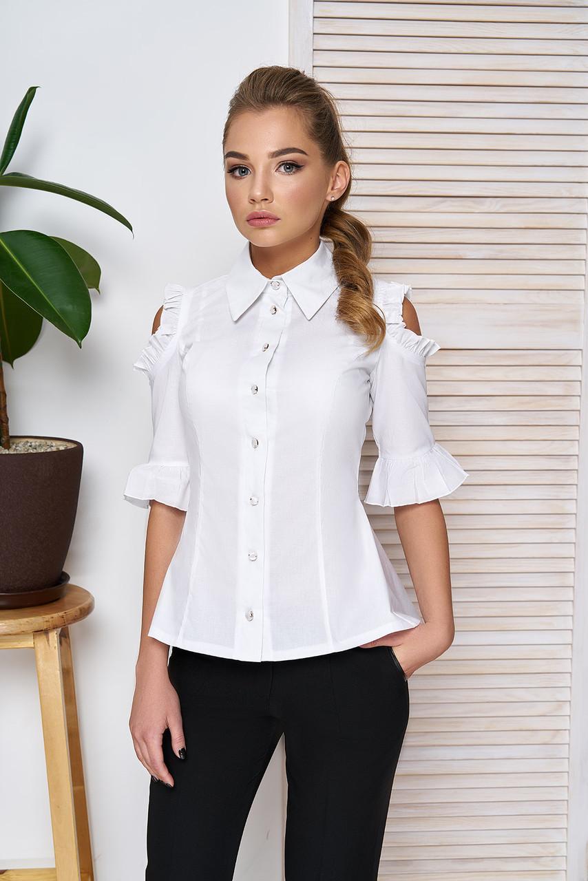 2c8703d66e5 Женская красивая приталенная блузка с оборками и разрезами на плечах
