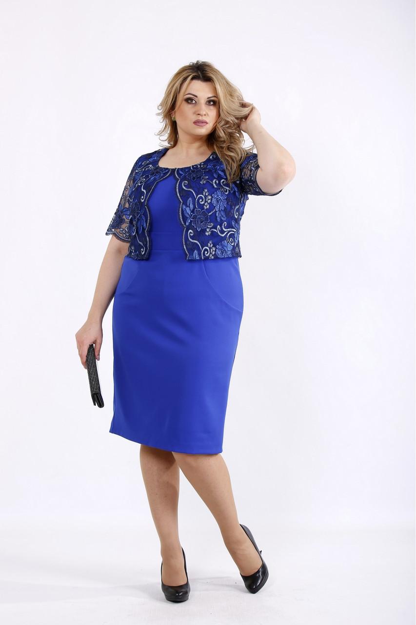 Платье нарядное с гипюром электрик большой размер 42-74. 01079-1