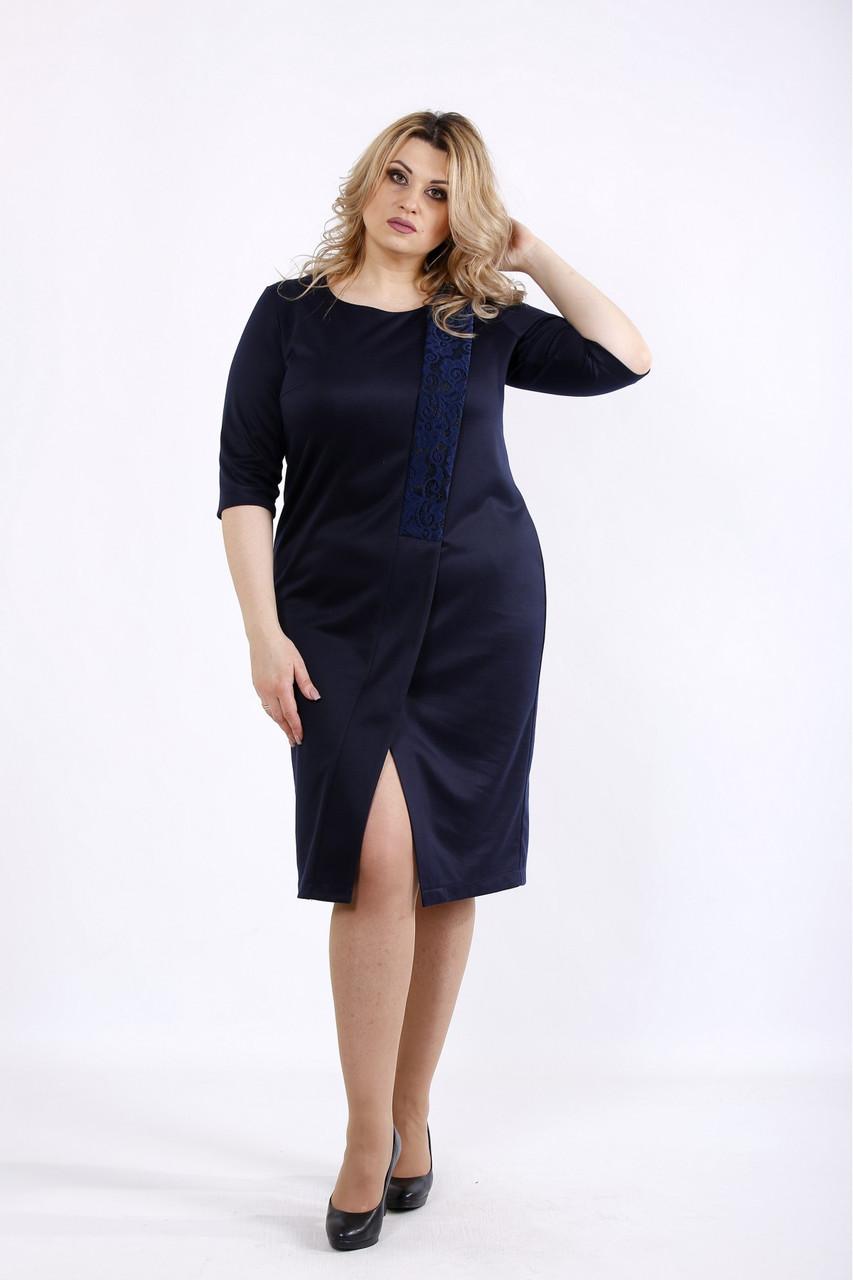 Темно-синє асиметричне плаття боьшого розміру 42-74. 01080-1