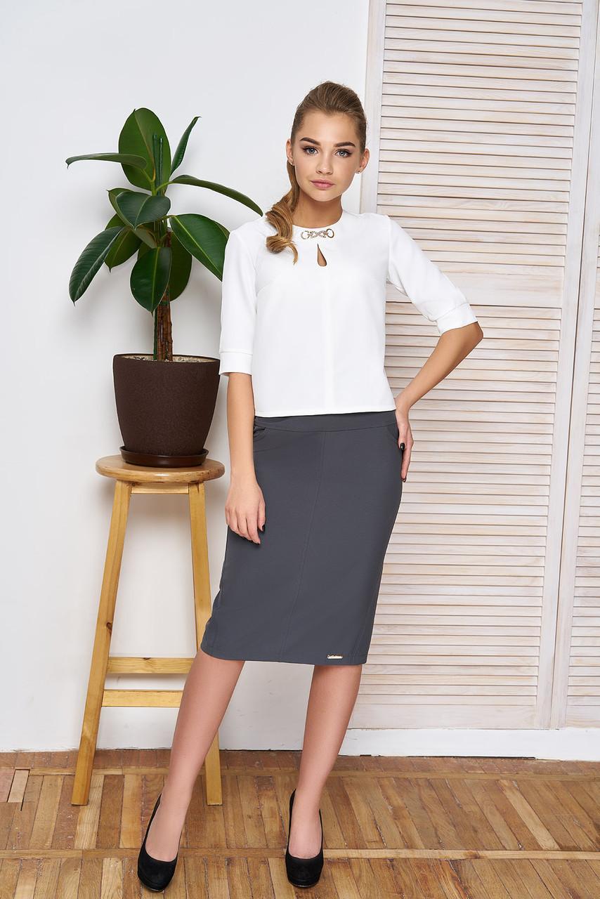 """Классический женский офисный костюм юбка и блузка """"Дорис"""" (серый)"""