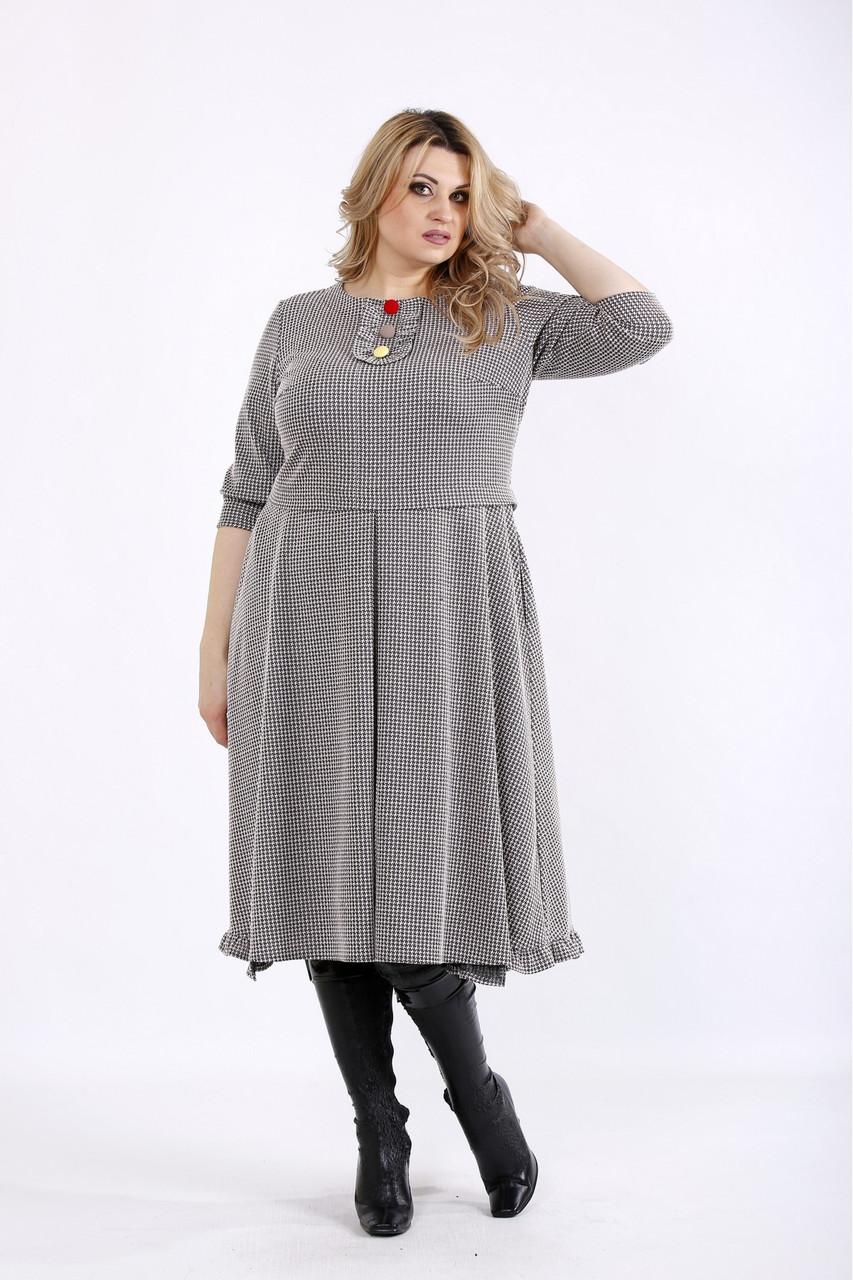 Гарне плаття сіре в клітку офісне з пишною спідницею 01085-2  