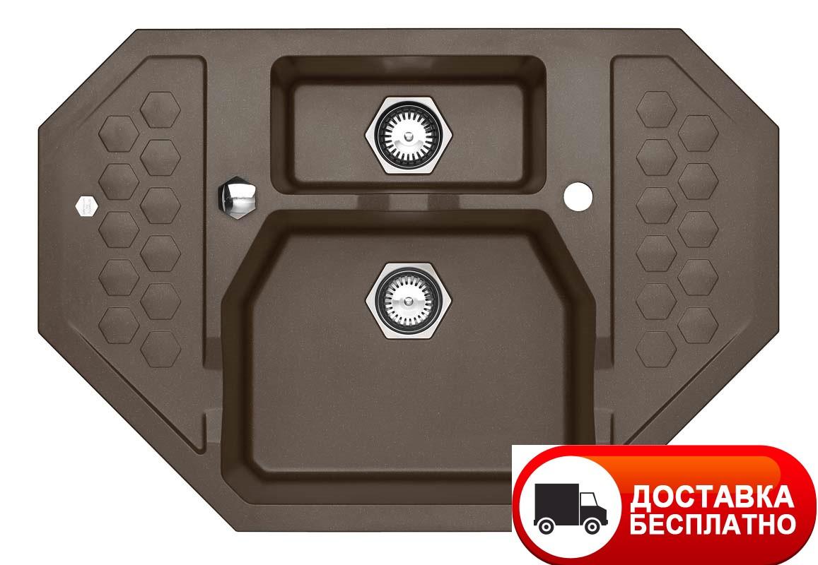 Гранитная угловая мойка Alveus SENSUAL 60 G03M chocolate metalic 90*61