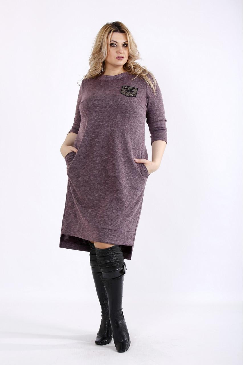 Баклажановое платье трикотажное с карманами большого размера 42-74. 01086-2