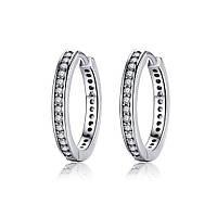 Серьги-кольца  серебряные, фото 1