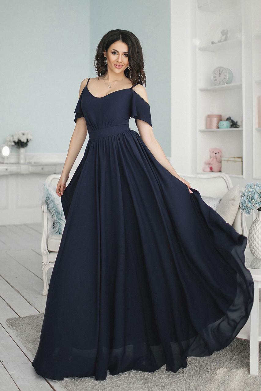 6e3ad61751b8d95 Темно-синее длинное Платье Жасмин - LILIT ODESSA оптово-розничный магазин  женской одежды в