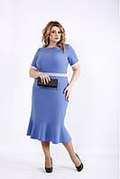 01093-2   Платье цвета джинс с гипюровыми вставками плюс сайз